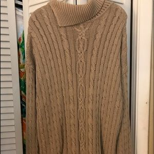 Tan Knitted Turtleneck Sweater
